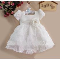 Vestido Rosas Blanco Talla 6 Y 9 Meses, 2 Y 3 Años (bautizo)