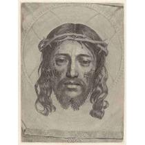 Lienzo Tela Grabado En Madera Rostro Cristo 1649 67 X 50 Cm