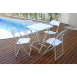 Conjunto Mesa 58x58 4 Cadeiras Dobrável Ferro/aço Metalmix