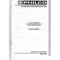 Manual Del Usuario Autoestereo Philco Mod: Csp - 3735