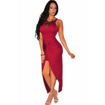 Sexy Vestido Largo Vino Abertura Al Frente Fiesta Elegante