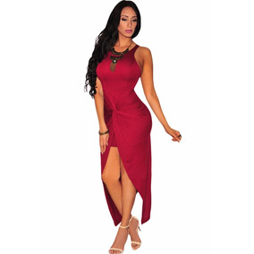 Sexy Vestido Largo Vino Abertura Al Frente Fiesta Moda 60658