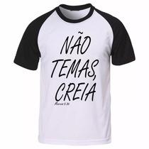 Camiseta Raglan Gospel Evangélica Cristã Não Temas Camisa