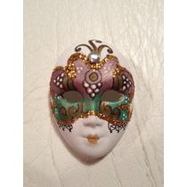 Preciosa Máscara Veneciana Auténtica Decoración Arte