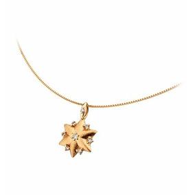 Ping. Estrela 6 Pontas Em Ouro 18k Com Diamantes Corrente