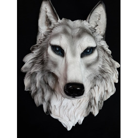 Cabeza De Animal De Lobo Decorativa En Resina Gmfr020
