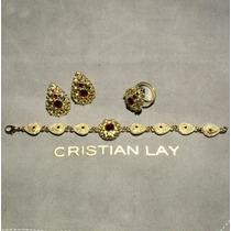Juego Pulsera, Anillo Aretes. Cristian Lay Ver Tmb Reloj