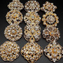24pc/lot Mixed Alloy Gold Rhinestone Crystal Brooches Pins