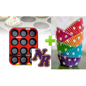 Molde Muffins Cupcakes Teflon Pyrex X12 Mas 50 Pirotines