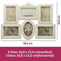 Painel Quadro Porta Retrato Vintage Barroco Branco 6 Fotos 1