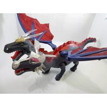 Dragão 2 Cabeças Dinossauro 3d Anda, Acende Olhos, Mexe Boca