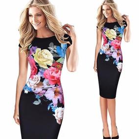 Vestido Importado Oficina Con Flores Modelo Fiona Qilaixing