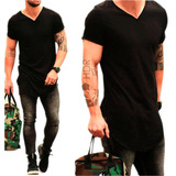 Camiseta Camisa Oversized Longline Masculina Swag Gola V