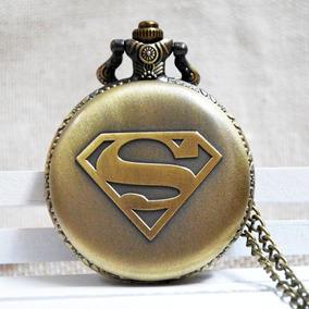 Dc Superman Reloj De Bolsillo Dije De Colección Con Cadena