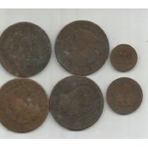 España Lote 6 Cobres 1,2 Y 10 Centimos 1870,1877,1878,1879