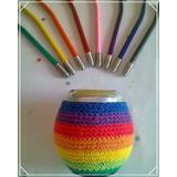 Mate De Calabaza C/funda De Crochet Y Bombilla De Color