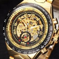 Relógio Caixa Grande De Aço Dourado Automatico Super Luxo