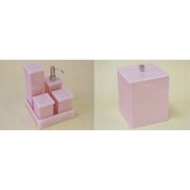 Kit Potes P/ Banheiro Em Acrílico Rosa C/ Strass + Lixeira