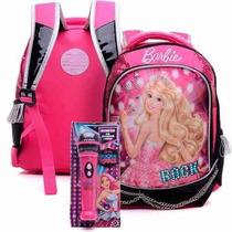 Mochila Costas Barbie Rockn Royals Tam G Rosa + Microfone