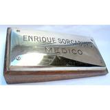 Antiguo Cartel Placa Bronce Medico Montada En Madera