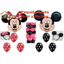 Paquete Fiesta Globo Minnie Y Mickey Mouse,infantil,mimi.