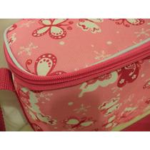 Bolsa Térmica 5 Litros Feminina Estampa Borboletas Rosa