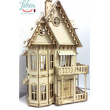 Casita De Muñecas Fibrofacil Con 23 Muebles Casa Gotica