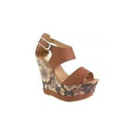 Sandalias 09127 Altisimas Camel Plataform Tacon Wedge