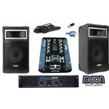Combo Dj Moon Mixer 2ch Usb+potencia+2 Bafles10 Pulg+microfo