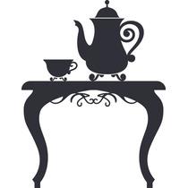 Adesivo De Parede - Aparador Chá Azul Céu