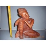 Estatua Buda Recostado De Madera Maciza Tallada!! 30cm Alto