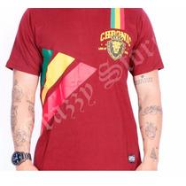Camiseta Chronic Reggae Roots Leão Bordô Crazzy Store
