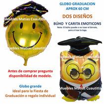Globo Metalico Graduacion Fiesta Emoji Buho Birrete Adorno
