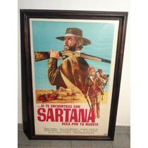 Cartel De Afiche Cine Antiguo Encuadrado Con Doble Vidrio