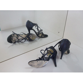 Sandália De Grife Ellus Shoes De Couro Salto Alto Tirinhas