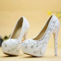 Sapato Scarpin Branco Noiva Pérola Strass Customizado