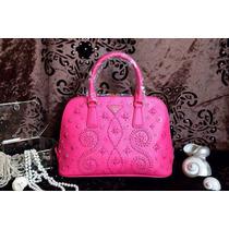 Bolsa De Luxo Pink Em Couro