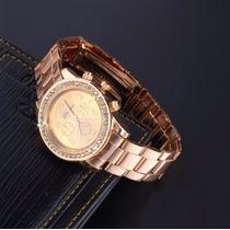 Reloj Quarzo Mujer Geneva Cristal Acero Inox Dorado Rosado