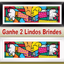 Quadro Decorativo 40x1,04 Mt Romero Britto The Hug O Abraço