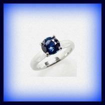 Anillo Compromiso Promesa Oro Zafiro Azul Natural Un Quilate