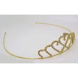 Tiara Strass Arco De Cabeça Coroa Princesa Dourada E Prata