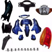Kit Carenagem Completa P/ Biz 100 Ano 2004 -azul C/adesivad