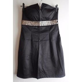 Vestido Raso Straples Negro De Fiesta Noche Tachas