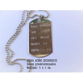 Chapa Identificación Militar Dog Tag Acero Quir C/grabado