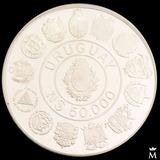 Mg* Moneda Uruguay Encuentro Dos Mundos Plata Proof 1991