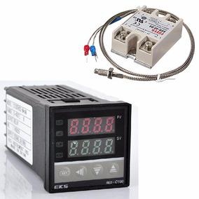 Controlador De Temperatura Pid Pirometro Rex C100 + Ssr + Tc