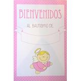 Cartel Bienvenidos Bautismo Rosa