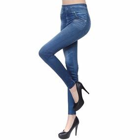 Calça Legging Jeans Estonado Leg C/ Bolso Modeladora