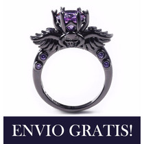 Anillo Gotico Calavera Compromiso Oro Negro 10k Rubi Cristal