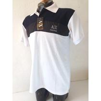 Camisa Playera Tipo Polo Armani Color Blanco Negro Hombre